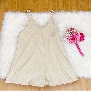 Final Touch Neutral Cream Ribbed Wave Romper